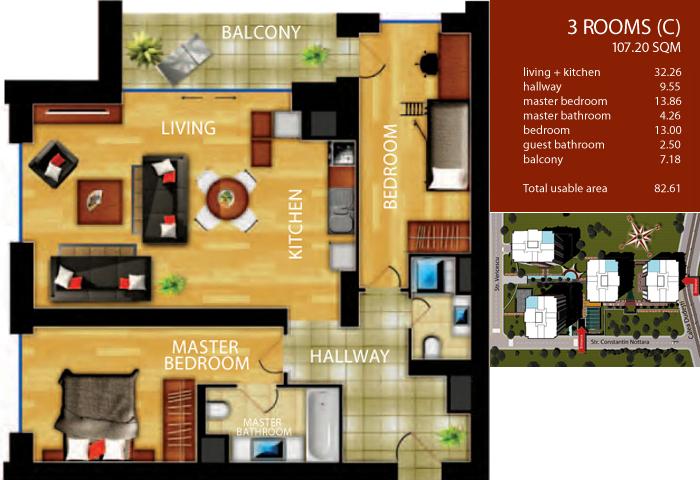 3 Rooms Type C
